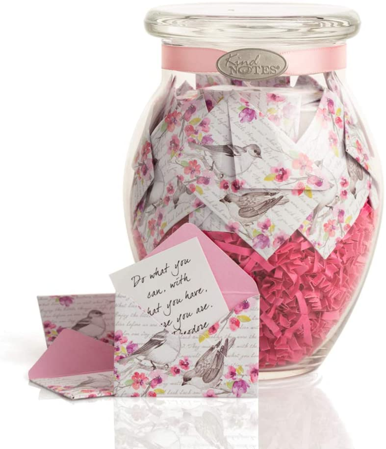 KindNotes Glass Keepsake Gift Jar with Love Messages (for Couples) - Airmail Red