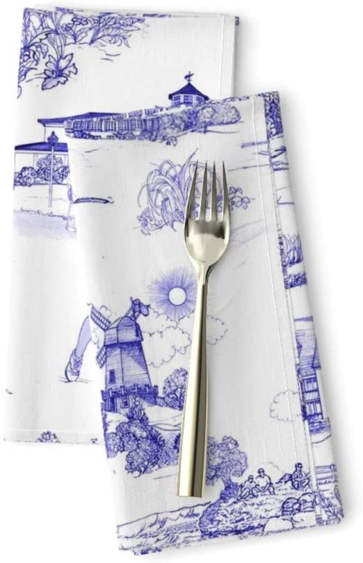 Roostery Hamptons Luxe Cotton Sateen Dinner Napkins Golf- Original Golf Course Toile Blue China White Historical Print Mcsparrandesign by Mcsparrandesign Set of 2 Dinner Napkins