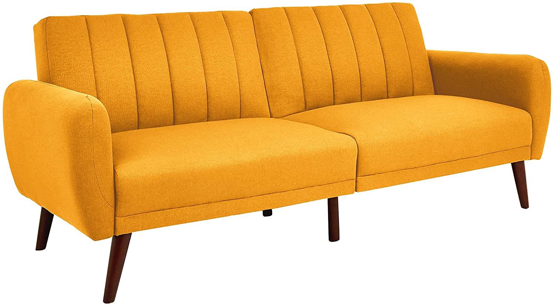 Sunrise Coast Torino Modern Linen-Upholstery Futon with Wooden Legs, Dijon