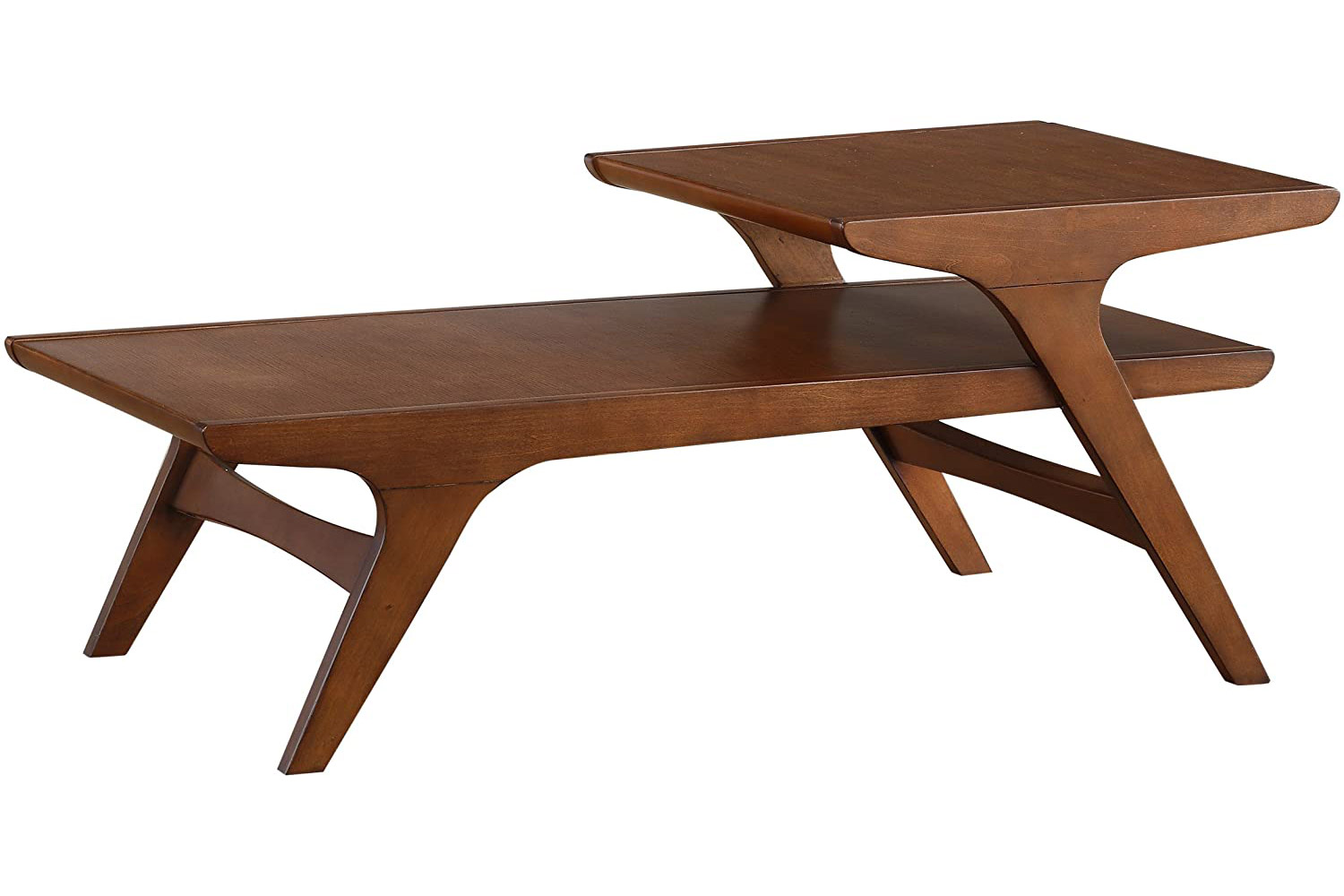 Homelegance Saluki Mid-Century Two-Tier Cocktail/Coffee Table, Cherry