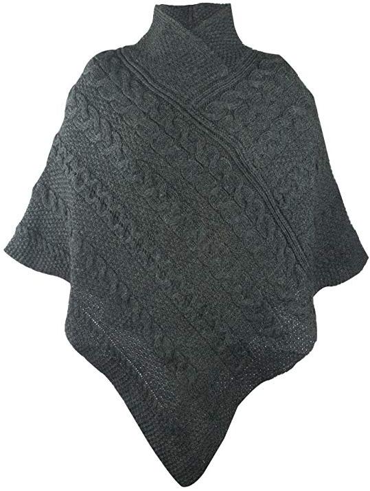 100% Irish Merino Ladies Aran Knit Poncho by West End Knitwear
