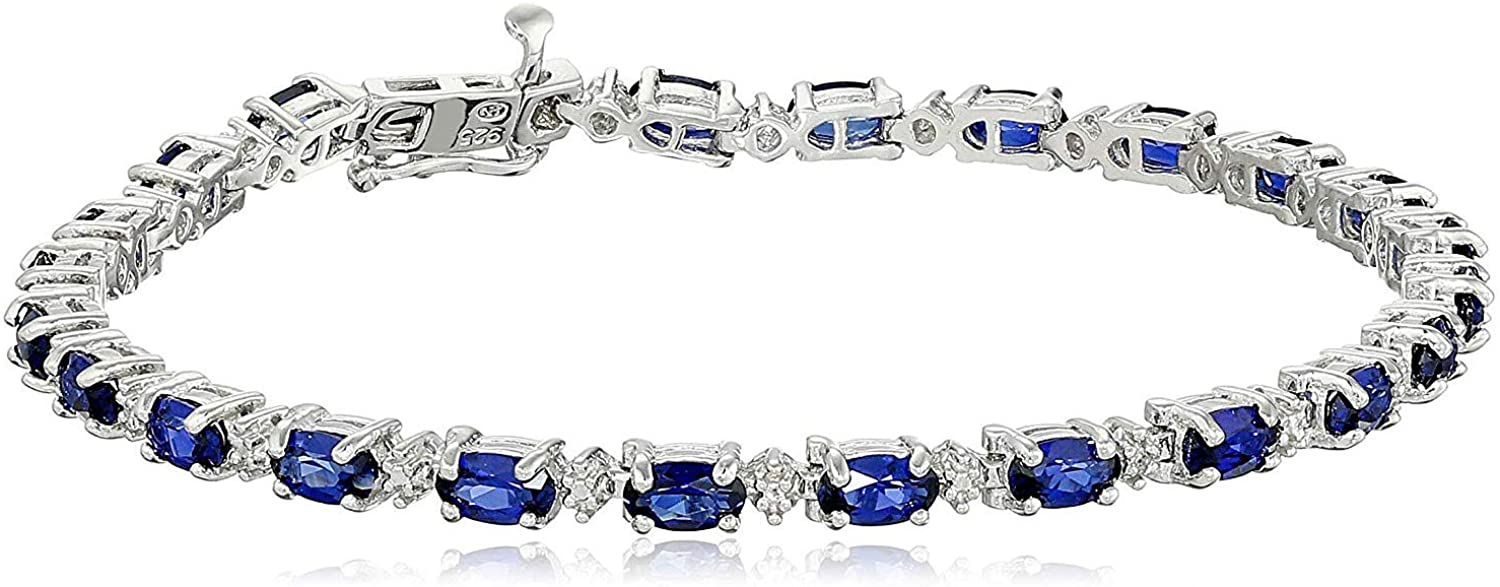 """.925 Sterling Silver Oval Created Blue Sapphire and Diamond Accent Tennis Bracelet, 7-1/4"""""""