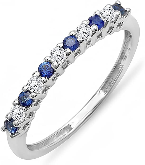 Dazzlingrock Collection 14K Round White Diamond & Blue Sapphire Stackable Wedding Band 1/3 CT, Yellow Gold, Size 5