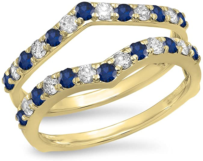 Dazzlingrock Collection Round Blue Sapphire & White Diamond Wedding Enhancer Guard Double Band 1 CT, 14K Yellow Gold, Size 10
