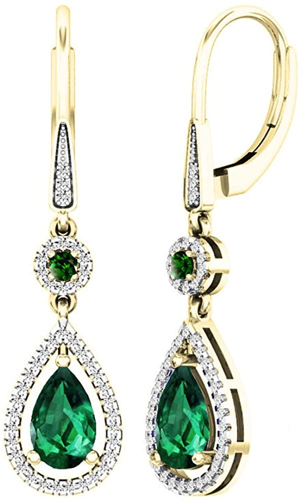 Dazzlingrock Collection 10K 8X5 MM Each Lab Created Round & Pear Emerald & Round Diamond Teardrop Dangling Earrings, Yellow Gold