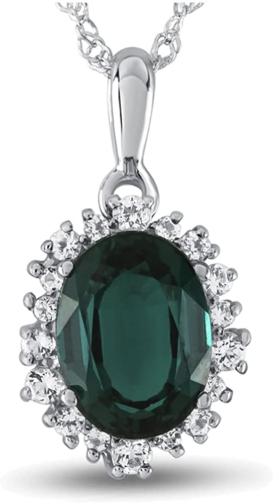 Finejewelers 10k Yellow Gold Oval Created Emerald with White Topaz accent stones Halo Pendant Necklace
