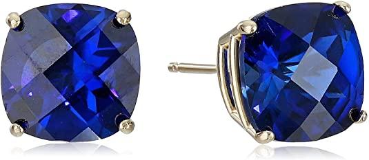 14k Yellow Gold Cushion-Cut Checkerboard Created Blue Sapphire Stud Earrings (8mm)