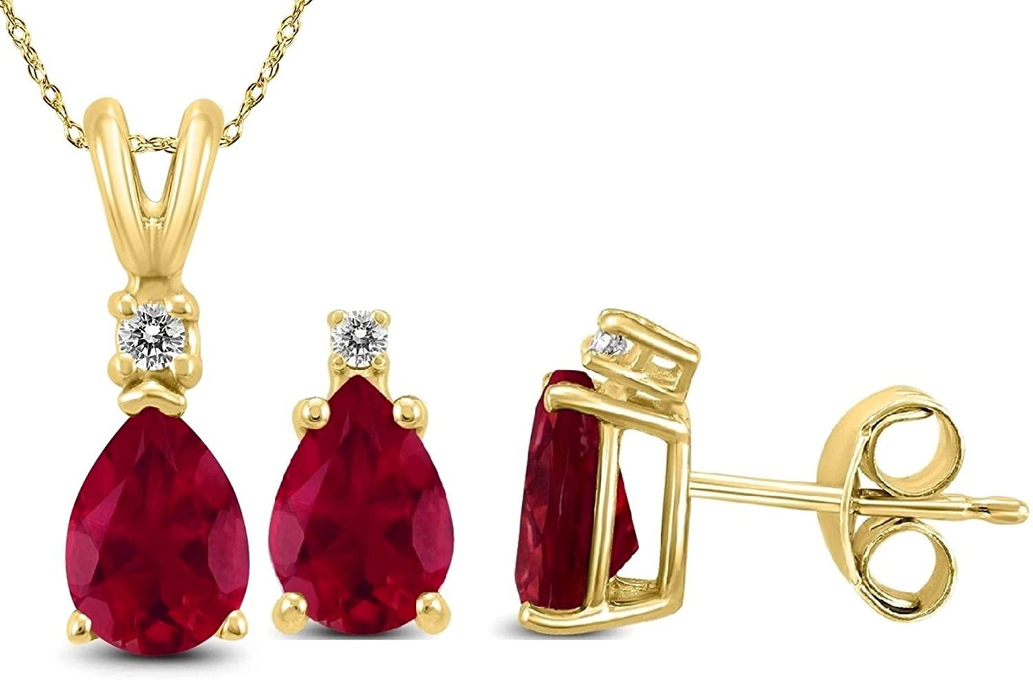 Genuine Luxurious 3 Cttw Ruby & Diamond (G-H, I1-I2) Earrings and Necklace Set in 14K Gold (Yellow-Gold)