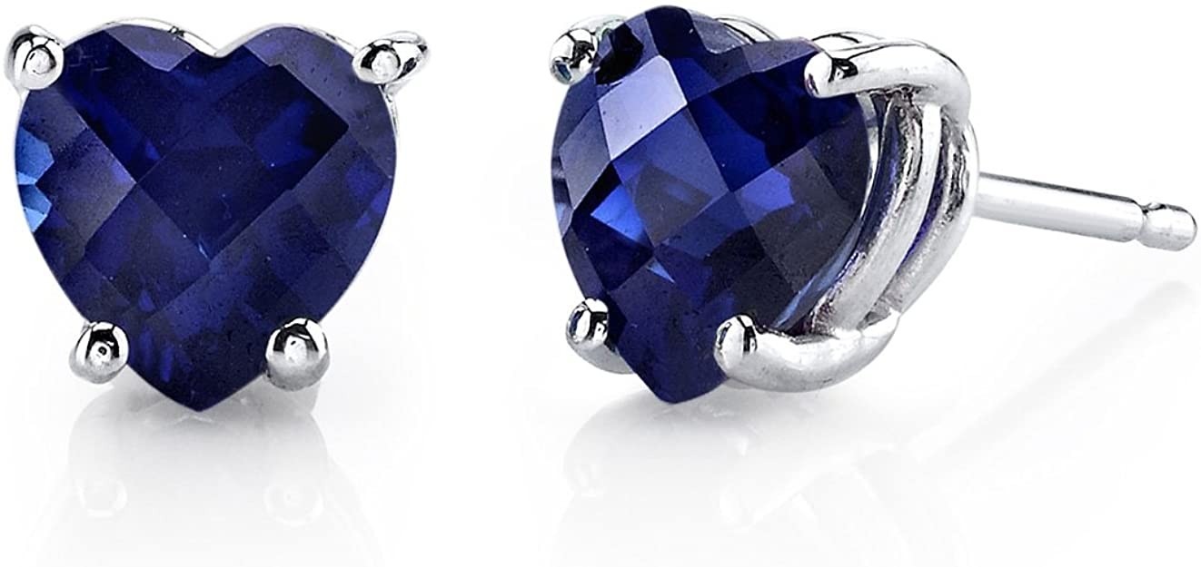 Peora Created Blue Sapphire Heart Stud Earrings for Women in 14 Karat White Gold, Classic Solitaire Studs, 6mm, 2.30 Carats total, Friction Back