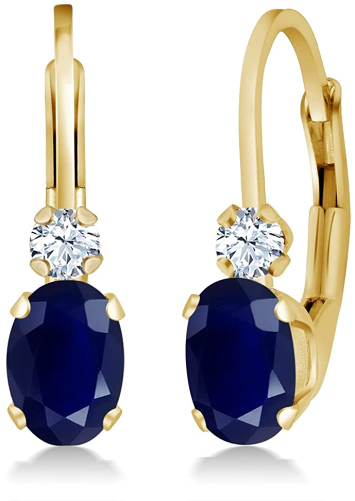 Gem Stone King 14K Yellow Gold Blue Sapphire and White Created Sapphire 3/4 Inch Earrings, 1.18 Ctw Oval Gemstone Birthstone