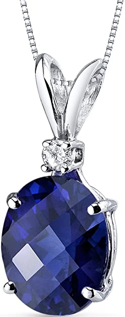 Peora Created Blue Sapphire with Genuine Diamond Pendant in 14K White Gold, Elegant Solitaire, Oval Shape, 10x8mm, 3.50 Carats total