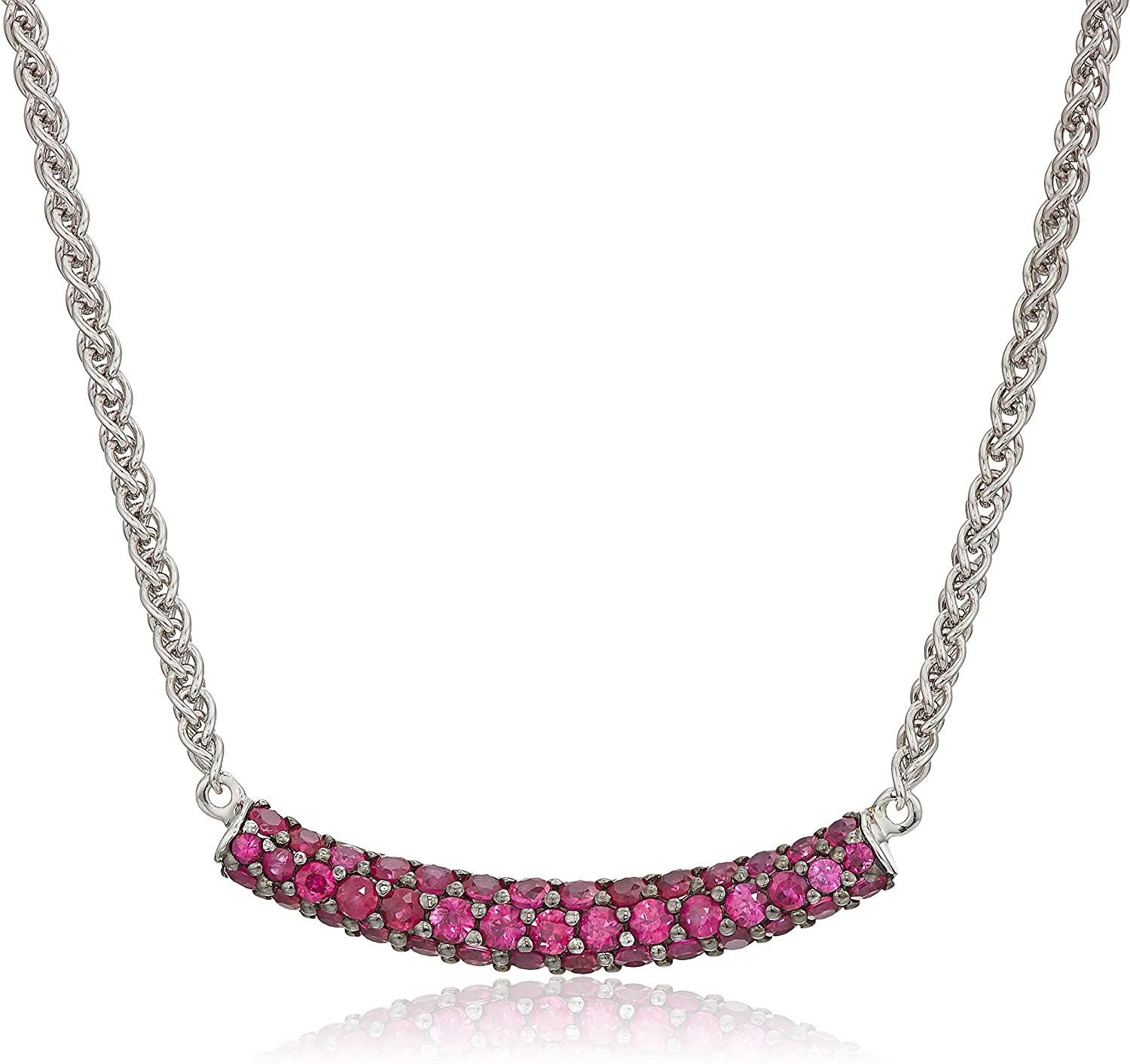 Effy Womens 925 Sterling Silver Ruby Necklace, Red, 18