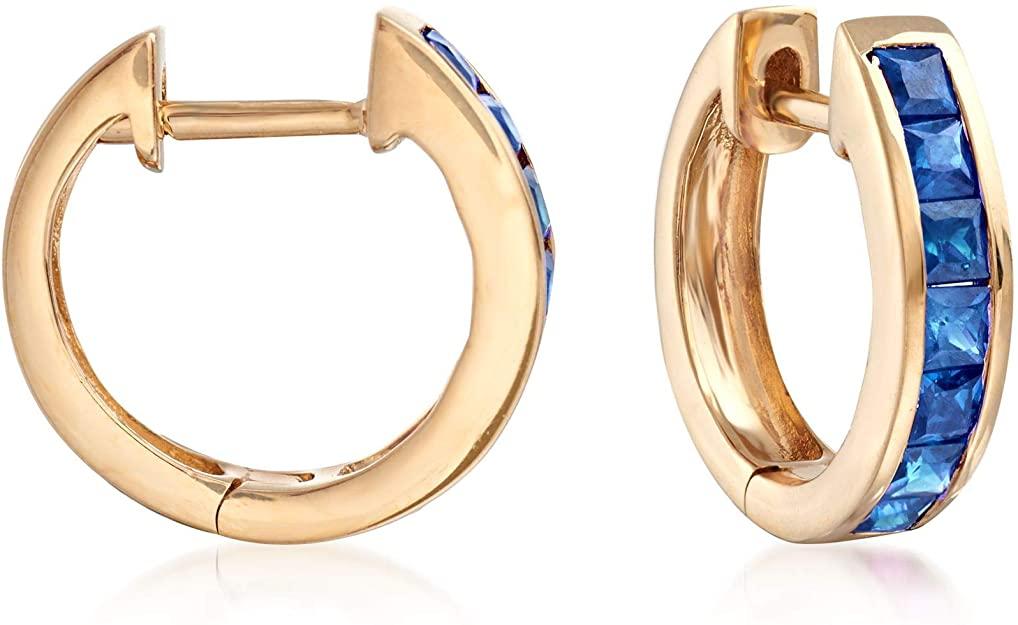 Ross-Simons 0.80 ct. t.w. Square-Cut Sapphire Huggie Hoop Earrings in 14kt Yellow Gold