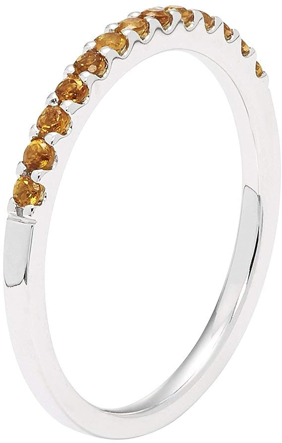 14K White Gold 1/5 Cttw Natural Citrine Stackable 2MM Wedding Anniversary Band Ring - November Birthstone, Size 5