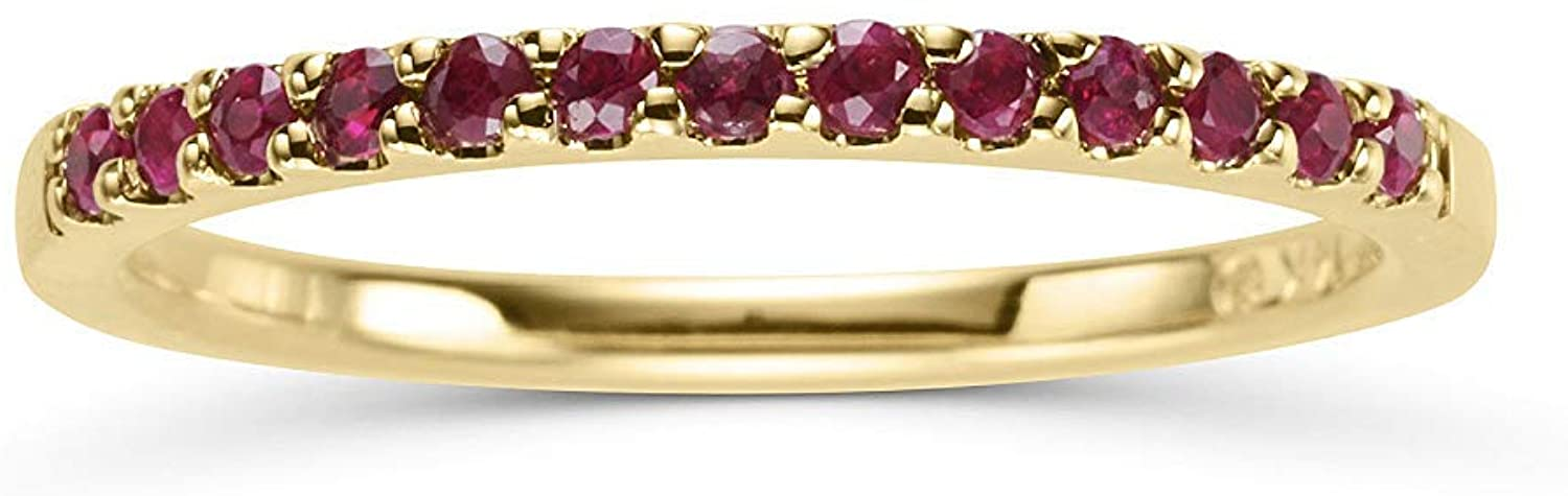 14K Yellow Gold 1/4 Cttw Natural Ruby Stackable 2MM Wedding Anniversary Band Ring - July Birthstone, Size 6