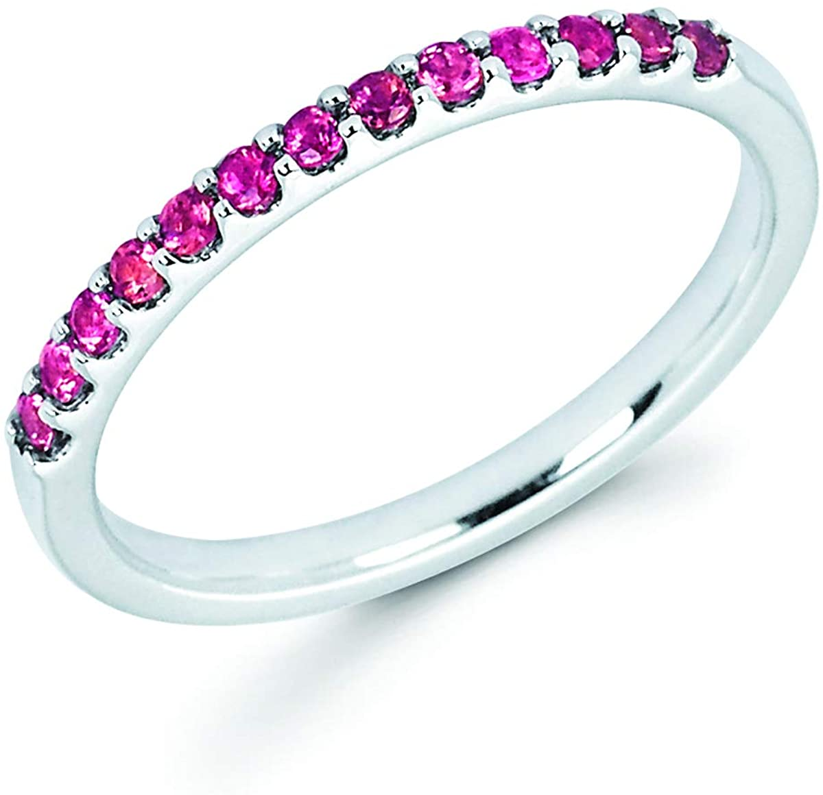 14K White Gold 1/5 Cttw Natural Pink Tourmaline Stackable 2MM Wedding Anniversary Band Ring - October Birthstone, Size 6