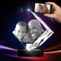 3D Crystal Photo - 3D Crystal Picture Engraved Diamond, Personalized & Custom Diamond Crystal with Free LED Base Included, Memorable Gift, and Keepsake, Large