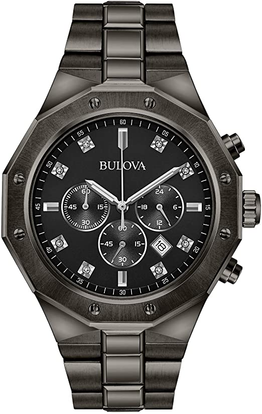 Bulova Classic Chronograph Mens Stainless Steel Diamond, Gray (Model: 98D142)