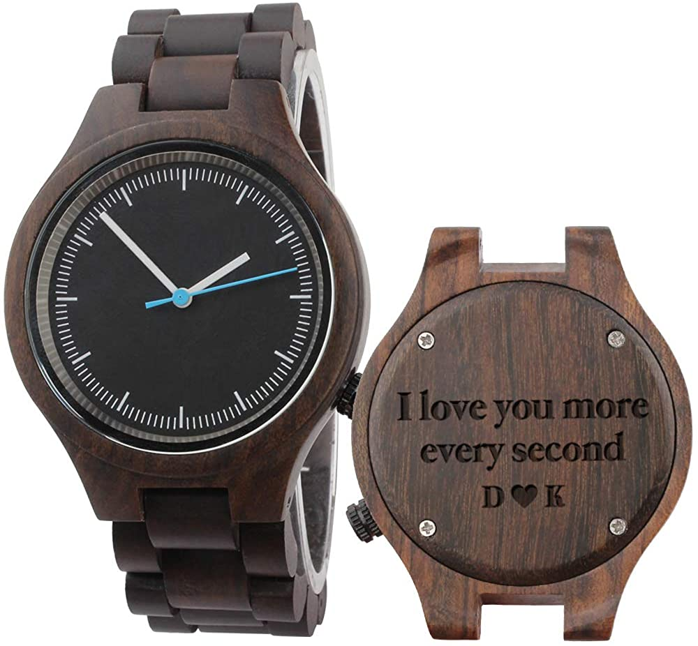 Engraved Wooden Watch for Husband Personalized Gifts for Men Birthday Gifts for Boyfriend