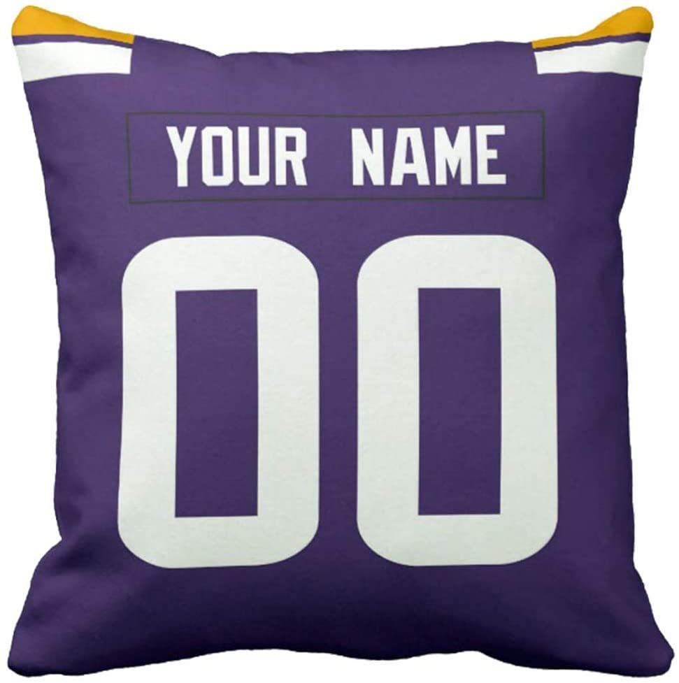 """Custom Football Personalized Decorative Throw Pillow 18"""" x 18"""" - Print Customization Accent Couch Throw Pillows Covers Select Any Name & Any Number (MN.Vikings)"""