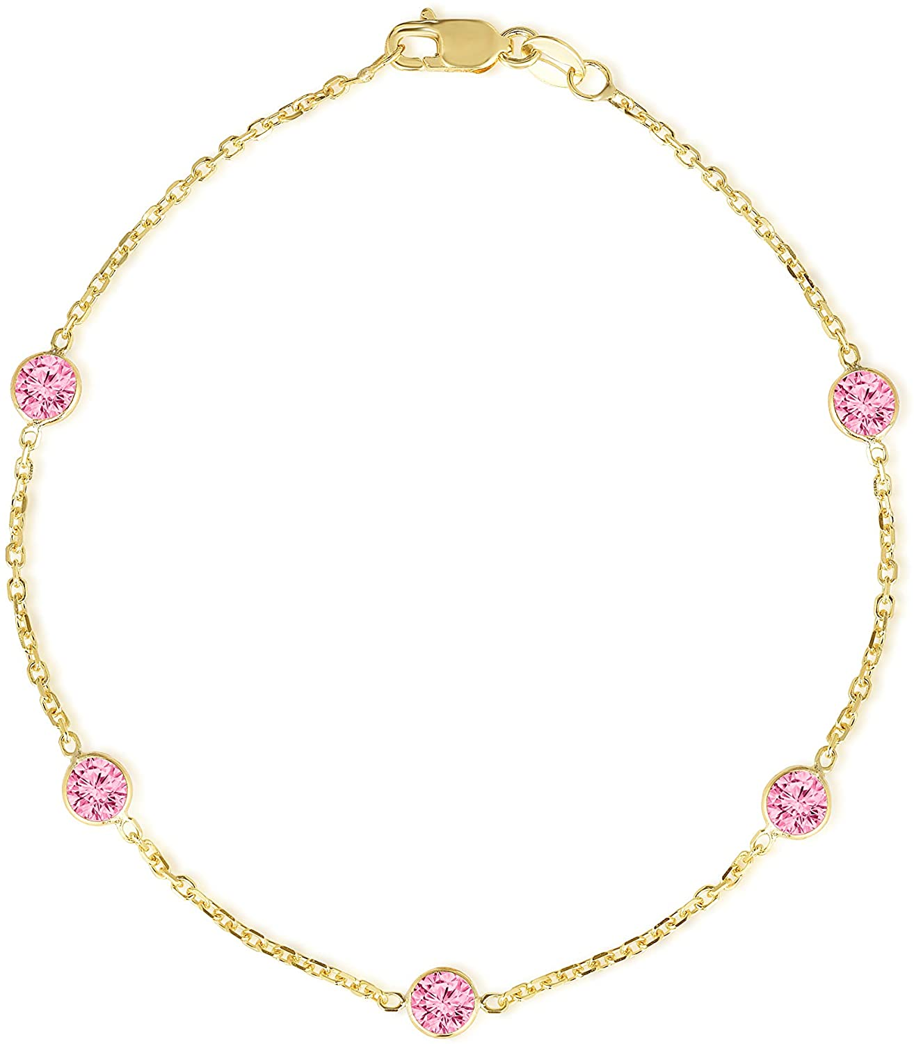 Floreo 14k Yellow Gold Round Created Pink Tourmaline (4mm) October Birthstone Cable Anklet, 10 inch