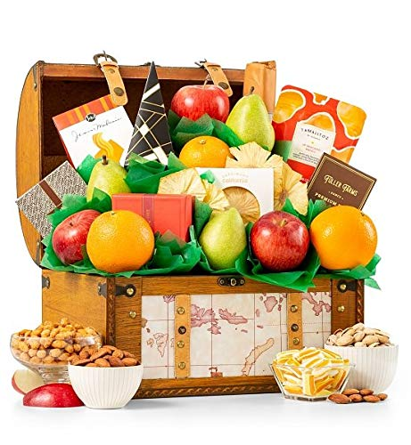 Premium Grade Fruit and Gourmet Treasure Gift Basket   Includes Fresh Pears, Apples, Oranges, Peanut Brittle & More   Reusable Keepsake Trunk   Perfect For Birthday, Anniversary or Thank You Gift