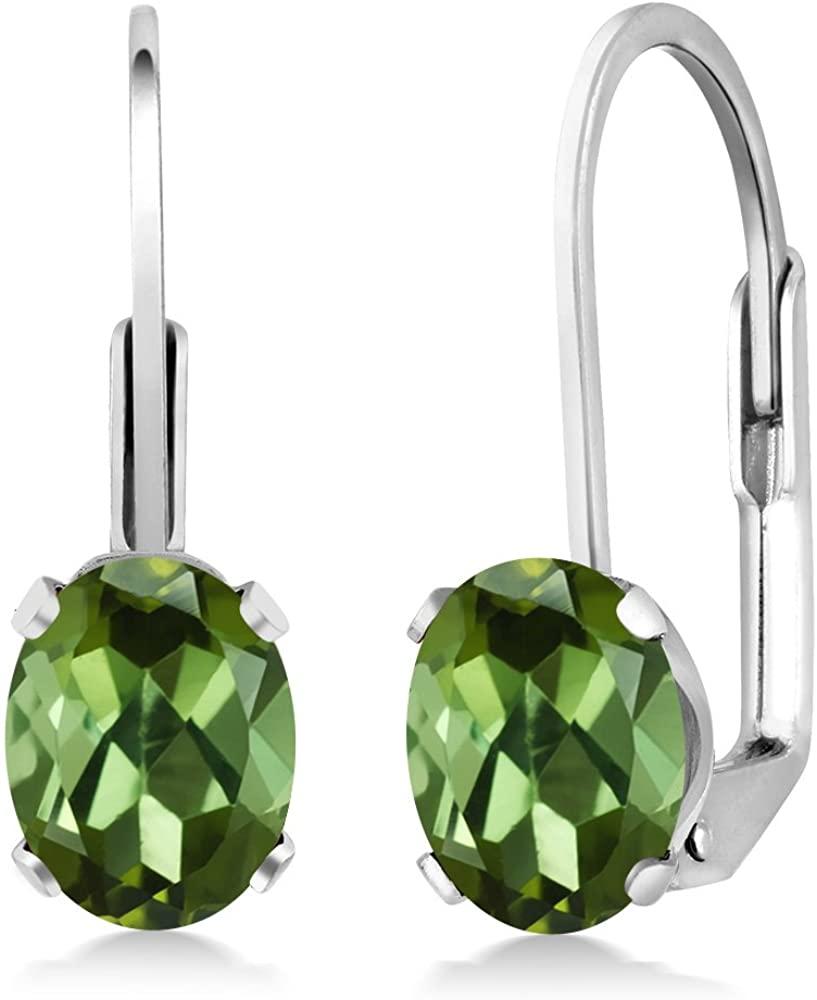 Gem Stone King 1.70 Ct Oval Green Tourmaline 925 Sterling Silver Leverback leverback earrings