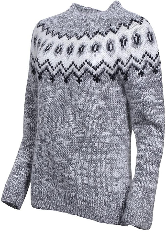 ICEWEAR Hulda 100% Icelandic Wool Hand Knitted Jumper with Crew Neck Light Grey