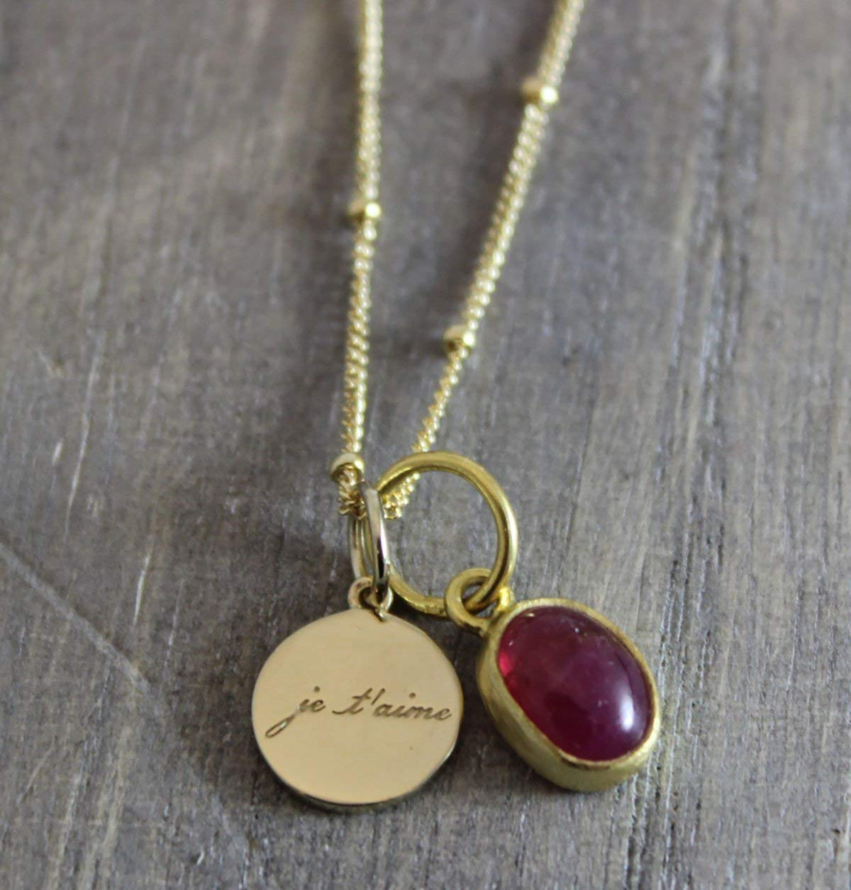 Pink Tourmaline Je'taime I Love You Charm Pendant 14kt Gold Filled Necklace 18 inches