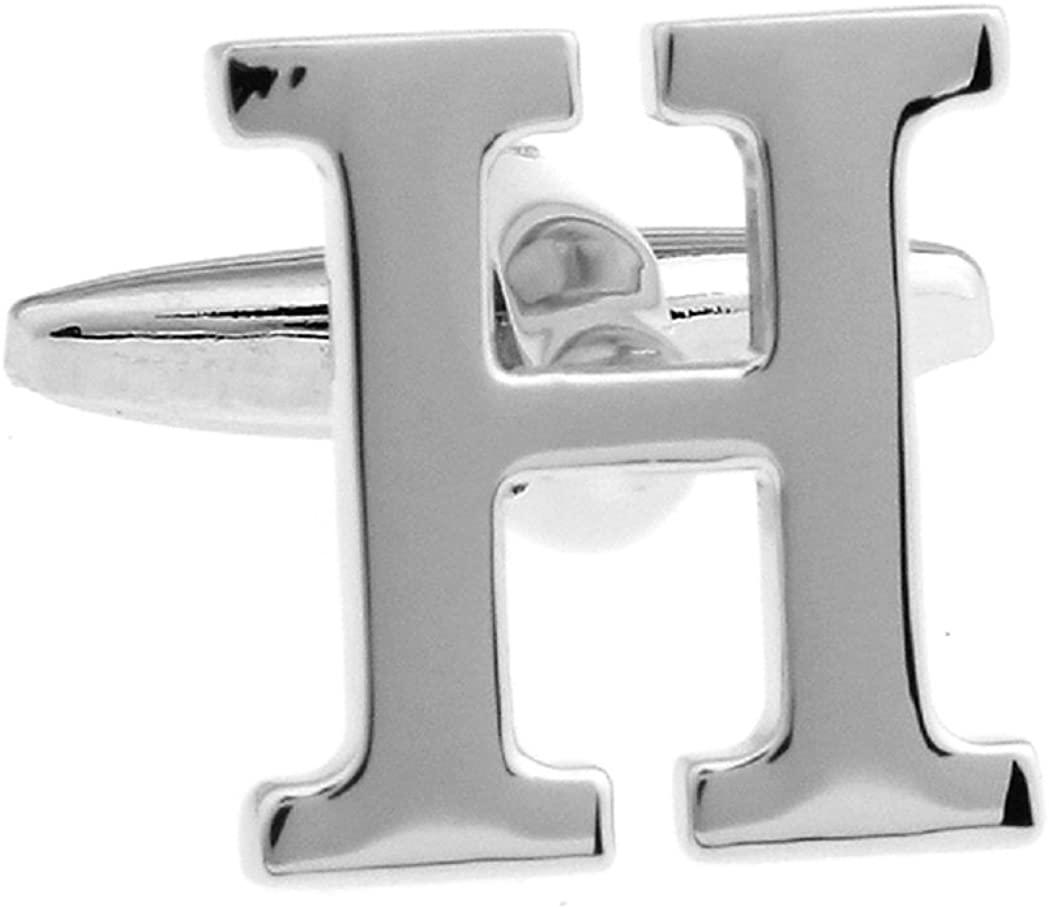 MRCUFF Letter H Monogram Initial Cufflinks with a Presentation Gift Box & Polishing Cloth (H)