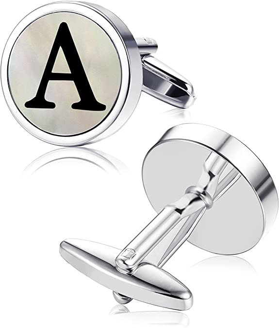 ORAZIO Mens Classic Engraved Initial Cufflinks Mother of Pearl Alphabet Letter Cufflinks Business Wedding Shirts A