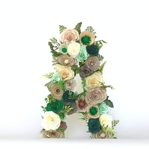 Floral Letter in brown & green paper flowers