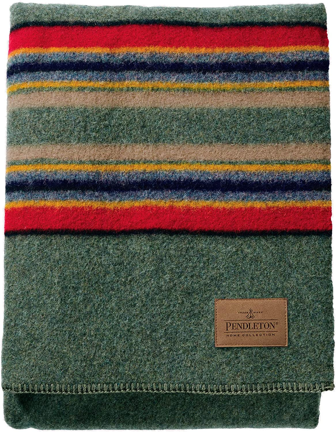 Pendleton Yakima Camp Thick Warm Wool Indoor Outdoor Striped Throw Blanket, Green Heather, Twin Size