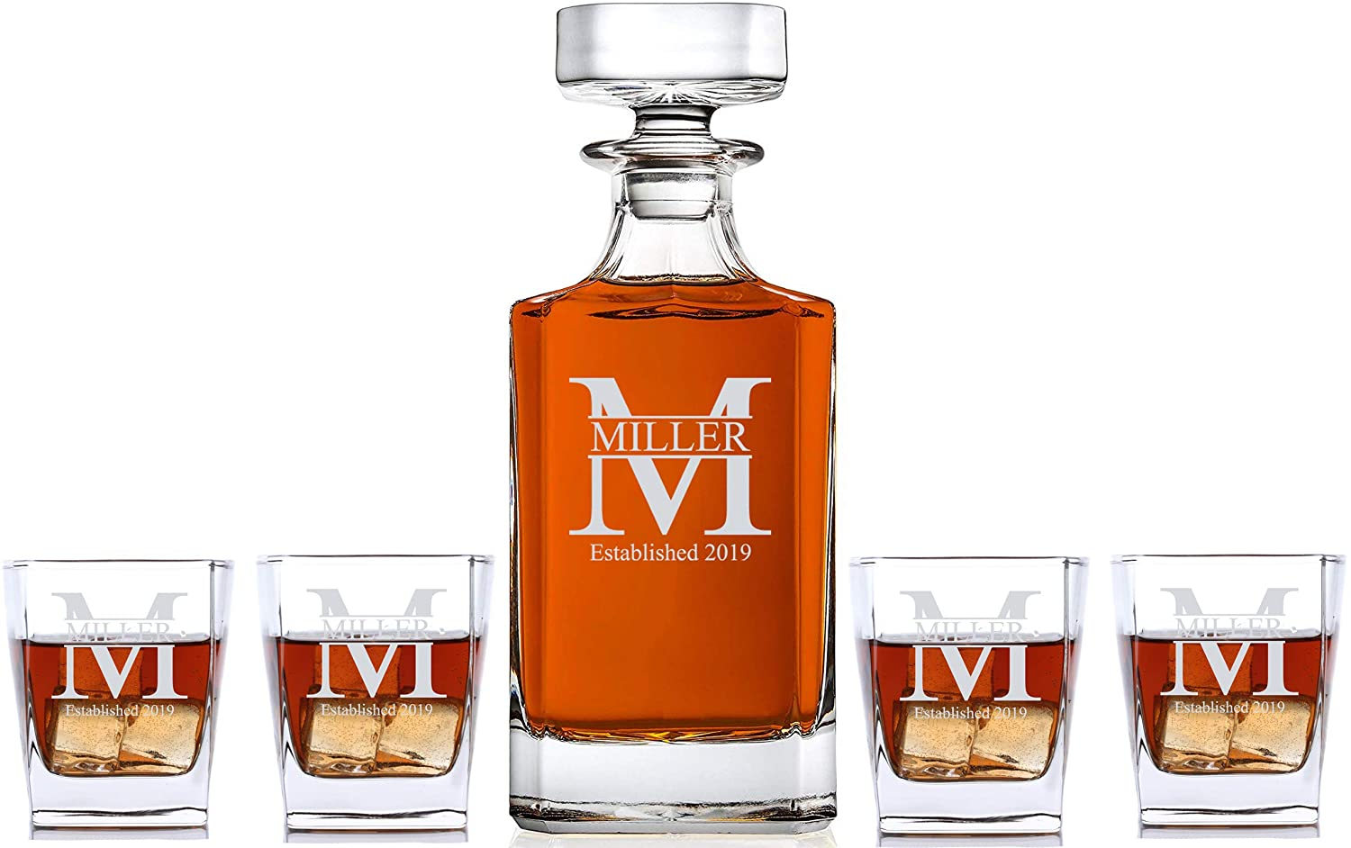 Personalized 5 pc Whiskey Decanter Set - Decanter and 4 Glasses Gift Set - Custom Engraved
