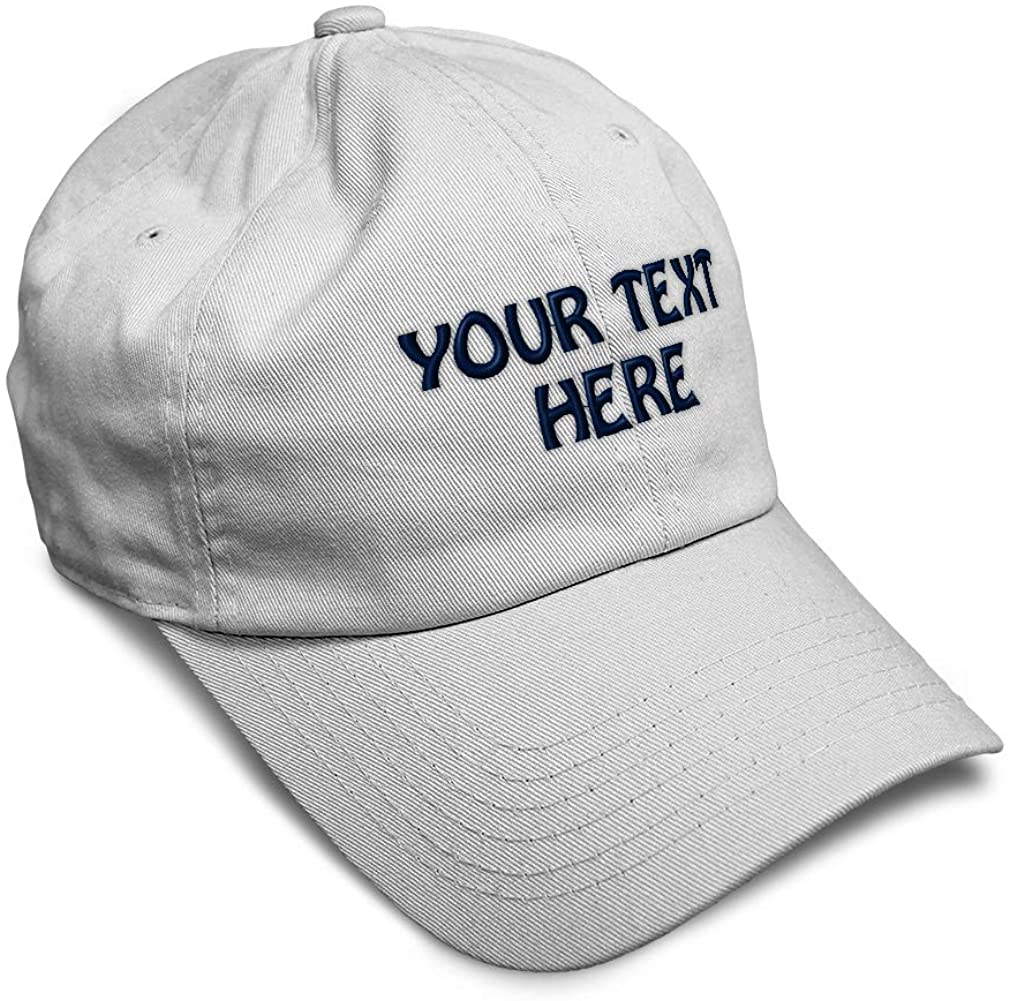 Soft Baseball Cap Custom Personalized Text Cotton Dad Hats for Men & Women Buckle Closure White