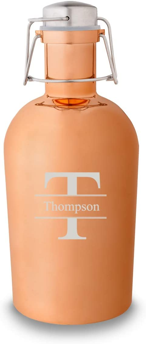 Personalized Beer Growler (Copper, Stamped Design), 64 oz Stainless Steel Single Wall Bottle Ideal for Camping, Travel - Unique Gift Idea