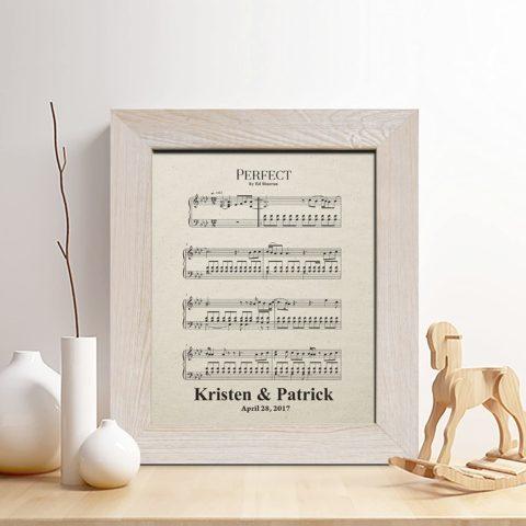 Personalized 2nd Anniversary Cotton Gift, Sheet Music Print