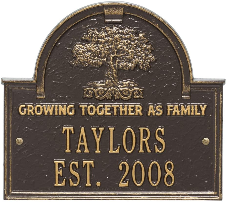 Whitehall Personalized Family Tree Custom Indoor/Outdoor Anniversary Aluminum Wall Plaque - Bronze/Gold