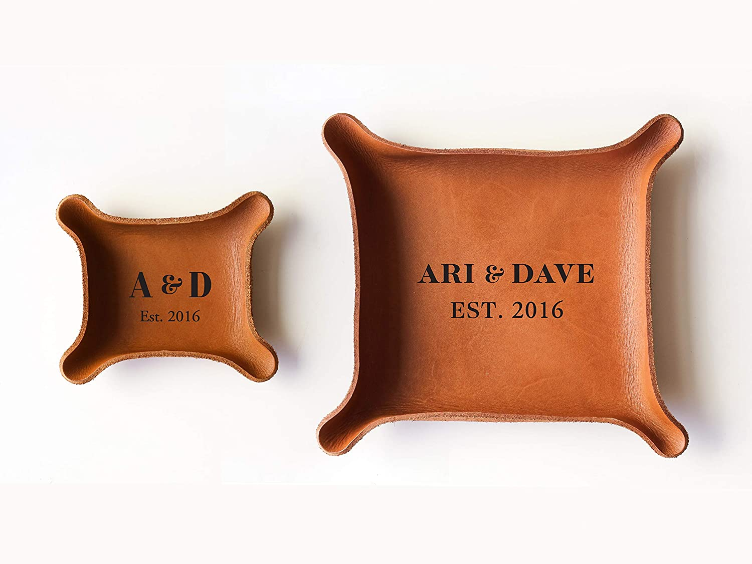3rd Personalized Leather Tray with Initials & Wedding Year (Small + Large Tray Set, Brown)