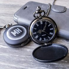 Swanky Badger Personalized Pocket Watch, Matte Black, Mechanical Hand, Japanese Quartz, Custom Laser Engraved, Chain Watches for Men, Men's Gift, Father's Day Gift, Groomsmen Gift (Circle)