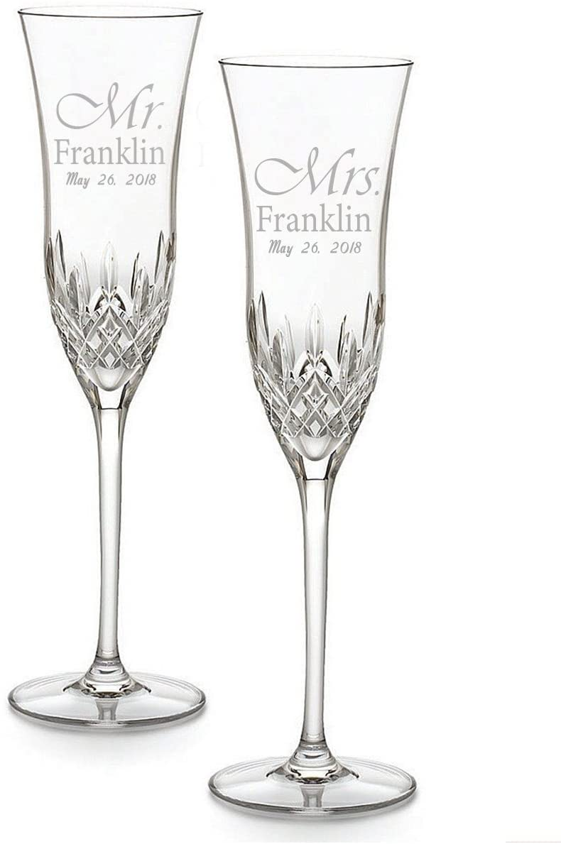 Waterford Lismore Essence Personalized Crystal Champagne Toasting Flutes, Set of 2 Custom Engraved Wedding Champagne Glasses, Gifts for Bride and Groom
