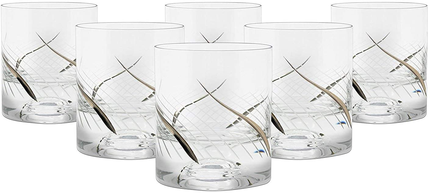 """Glazze Crystal RMC-051-PL Set of 6 Handcrafted Old-Fashioned Whiskey Glasses with Real Platinum Wavy Detailing, Unique for Whisky & More, 4"""" Tall, 7 oz"""