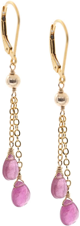 14k Gold-Filled Double Chain Drop Pink Tourmaline Leverback Earrings