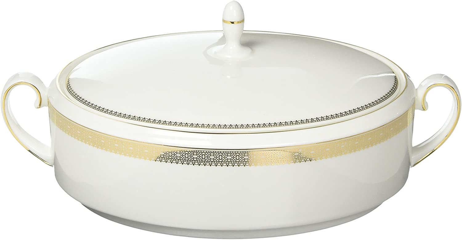 Vera Wang Wedgwood Vera Lace Gold, Covered Vegetable