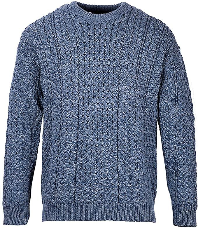 Men's Irish Traditional Aran Wool Pullover Sweater (X-Large, Denim)