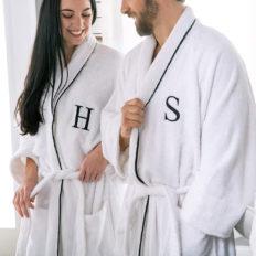 SUPERIOR Monogrammed Egyptian Cotton Bath Robe White Adult Unisex Bathrobe, J, Large/XLarge