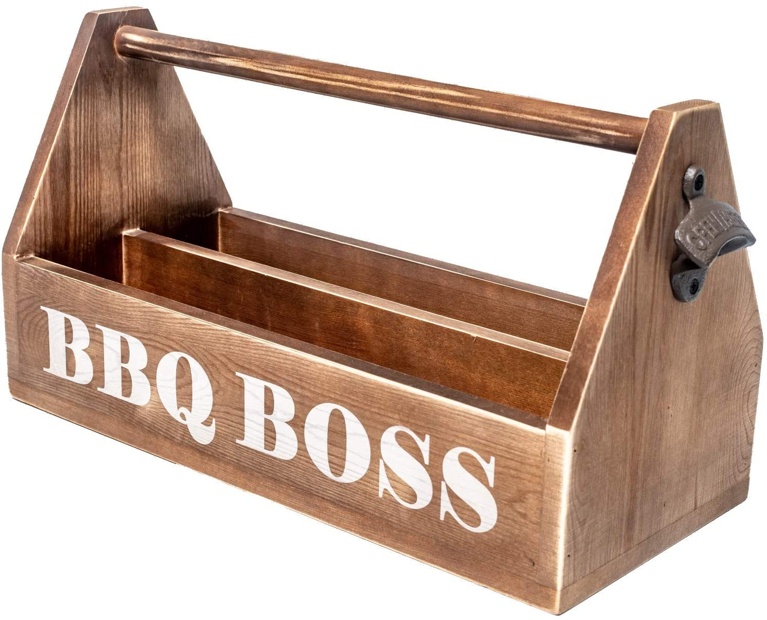 RJ's Farmhouse Decor BBQ Caddy - Handcrafted Grill Caddy with Bottle Opener, Organize BBQ Grill & Grilling Accessories, Condiment Caddy BBQ, Gifts for Men, Dad Gifts, BBQ Utensil Holder