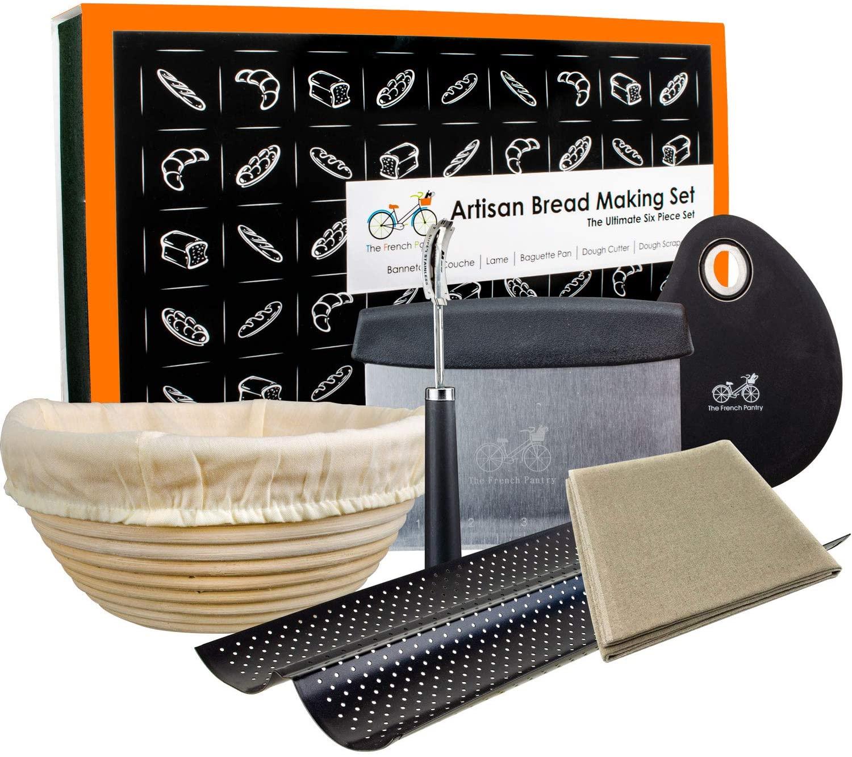 "Bread Baking Kit Gift Set   9"" Banneton Bread Proofing Basket   2 Baguette Baking Pan   Bread Lame   Flax Linen Couche   Dough Scraper   Dough Cutter"