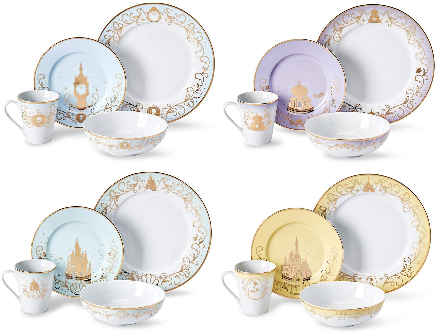 Disney Themed Dinnerware Set - 16 Ceramic Dishes, 4 Place Settings | Collection 1| Cinderella, Aladdin, Little Mermaid, & Beauty and the Beast Colorful Dinner & Dessert Plates, Bowl & Mug