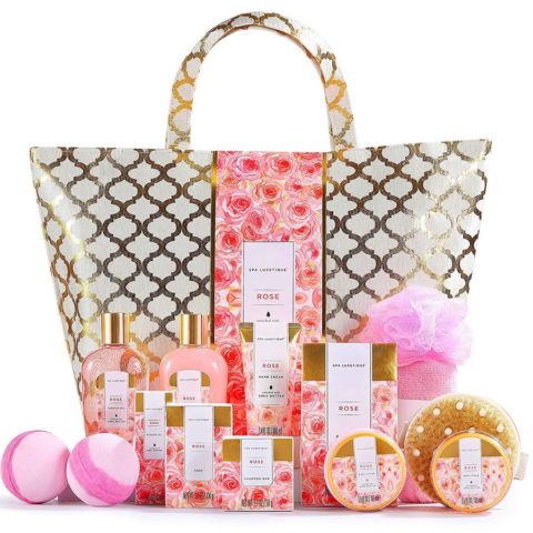 Spa Luxetique Spa Gift Baskets,15pcs Rose Bath Gift Set, Relaxing Women Gifts, Luxury Home Spa Kit Includes Massage Oil, Bath Salt, Bubble Bath, Bath Sets for Women Gifts, Gifts for Mum.